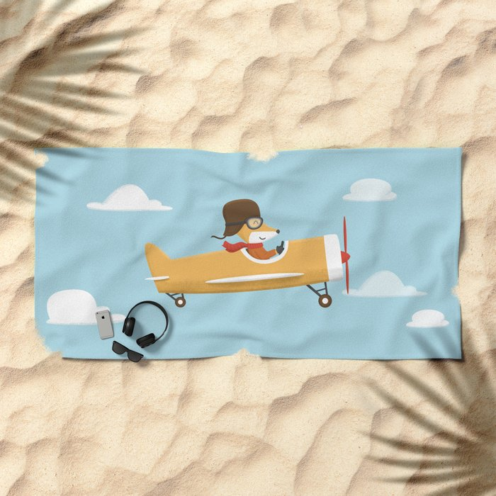 Mr. Fox is Flying Beach Towel