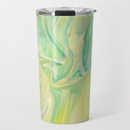 Fluid Nature - Lemon & Lime Sorbet - Acrylic Pour Art Travel Mug