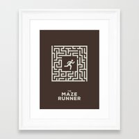 maze runner Framed Art Prints featuring Maze Runner by Aaron Johnson Design