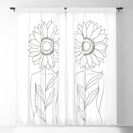 Minimalistic Line Art of Woman with Sunflower Blackout Curtain