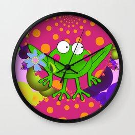 Flower Frog in a Funky Heart Wall Clock