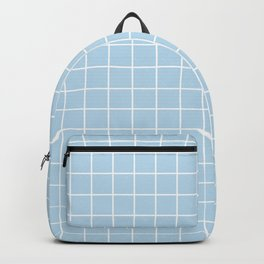 Columbia Blue - heavenly color - White Lines Grid Pattern Backpack