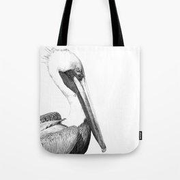 Black and White Pelican Tote Bag