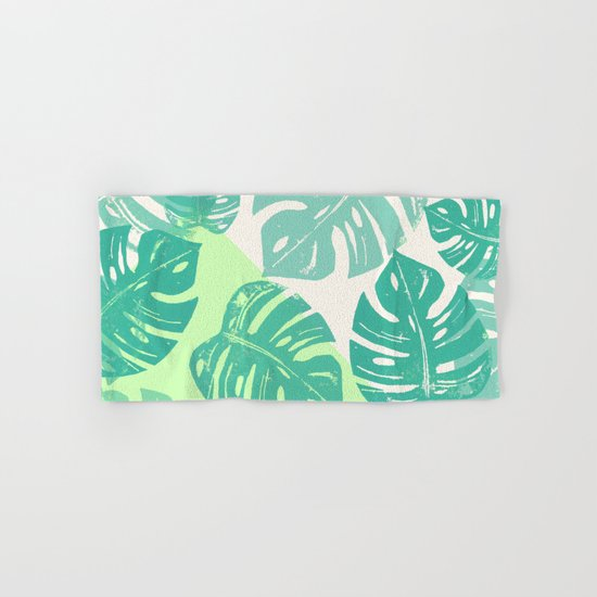 Linocut Monstera Green Hand & Bath Towel