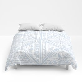 Simply Tribal Tile in Sky Blue on Lunar Gray Comforters