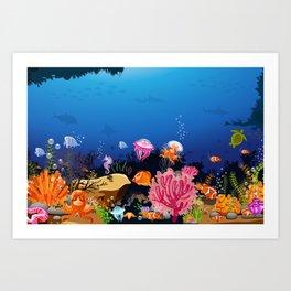 Beautiful Coral Reef Animals Art Print