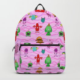 pink wave monster pattern, cute joyful,red green,purple,creatures funny Backpack