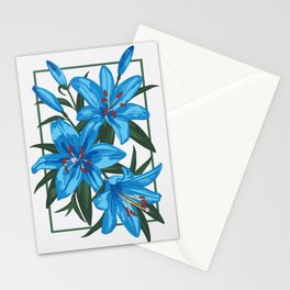 Blue Lilies. Flower illustration Stationery Cards