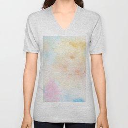 Vintage abstract pink blue yellow watercolor grunge Unisex V-Neck