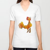 rooster V-neck T-shirts featuring Rooster  by mailboxdisco