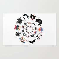 psychology Area & Throw Rugs featuring Rorschach test subjects' perceptions of inkblots psychology   thinking Exner score  by Luxorama