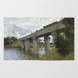 1874-Claude Monet-The Railroad bridge in Argenteuil -54 x 71 Rug