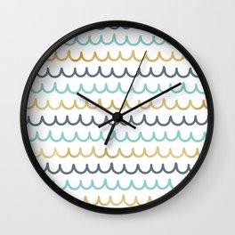 Golden Pastel Waves Wall Clock
