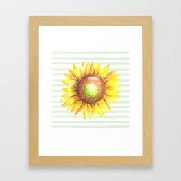 Sunflower Stripe Framed Art Print