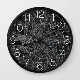 London City Map of England - Dark Wall Clock