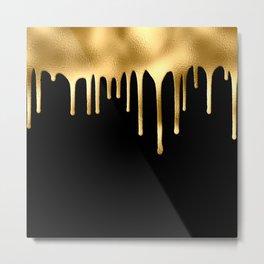 Black & Gold Drips Metal Print