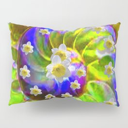 ULTRA VIOLET GREEN GARDEN  SPIRAL &  DAFFODILS ART Pillow Sham