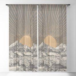 Mountainscape 6 - Night Sun Sheer Curtain