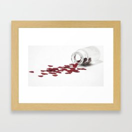 Glass jar filled with dose of love Framed Art Print