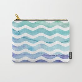 Modern teal purple watercolor wave striped Carry-All Pouch