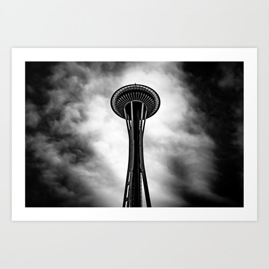 Space Needle Black and white Art Print