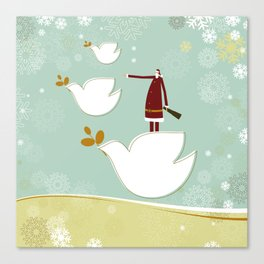 Santa and dove of peace Canvas Print