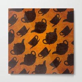 Teapots Cups Design Symbol Texture Pattern Metal Print