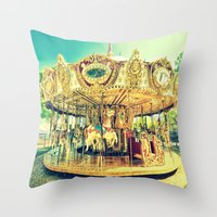 carousel Throw Pillows featuring Carousel Merry-G0-Round by Whimsy Romance & Fun