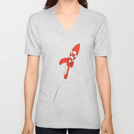 Tintin Destination Moon Rocket Unisex V-Neck