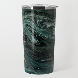 Abstract Pour Painting Liquid Marble Abstract Dark Green Painting Gold Accent Agate Stone Layers Travel Mug