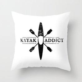 Kayak Addict Throw Pillow