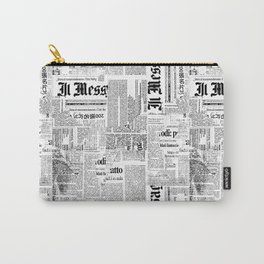 Black And White Collage Of Grunge Newspaper Fragments Carry-All Pouch