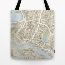 Oakland California Watercolor Map Tote Bag