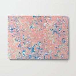 Pink Blue Marble Metal Print