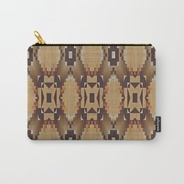 Khaki Tan Orange Dark Brown Native American Indian Mosaic Pattern Carry-All Pouch