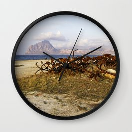 Sicilian Abandoned Port with Anchors Wall Clock