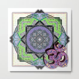 Purple Om Floating Over A Geometric Garden Metal Print