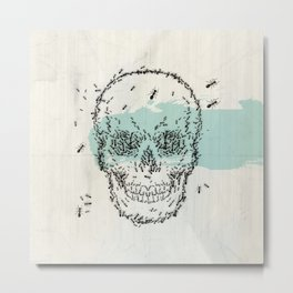 skull sketch design with ant Metal Print
