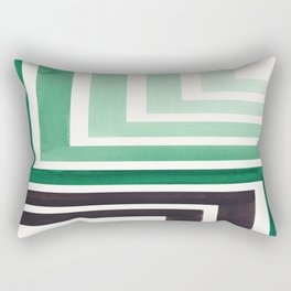 Deep Green Teal Mid Century Modern Watercolor Colorful Ancient Aztec Art Pattern Minimalist Geometri Rectangular Pillow
