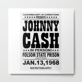 1968 Folsom State Prison Johnny Cash Vintage Tour Poster Metal Print