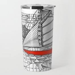Sailors Dream Fair Winds Sailboat Zentangle Travel Mug