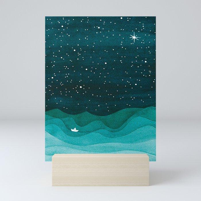 Starry Ocean, teal sailboat watercolor sea waves night Mini Art Print
