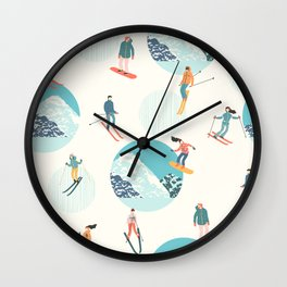Ski pattern Wall Clock