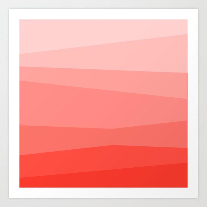 Diagonal Living Coral Gradient Art Print