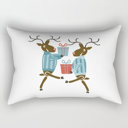 Funny christmas reindeer in sweaters with gifts Rectangular Pillow