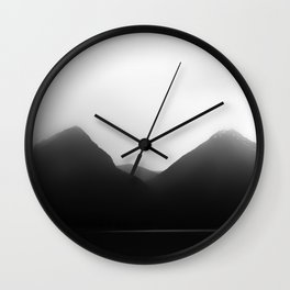 Foggy Mountains   Landscape Photography   B&W Art Prints   Misty Forest   Nature   Smokey Mountains Wall Clock