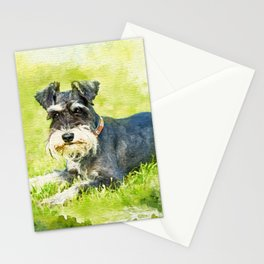 Miniature Schnauzer Watercolor Digital Art Stationery Cards