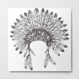 Native Chief headdresses  Metal Print
