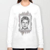 brad pitt Long Sleeve T-shirts featuring Brad Pitt in 2006 by JMcCombie