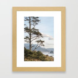 Clifftop Grazing Framed Art Print